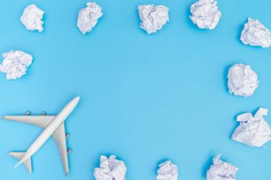 Plane Travel On Blue Sky Paper Cloud Frame Poster